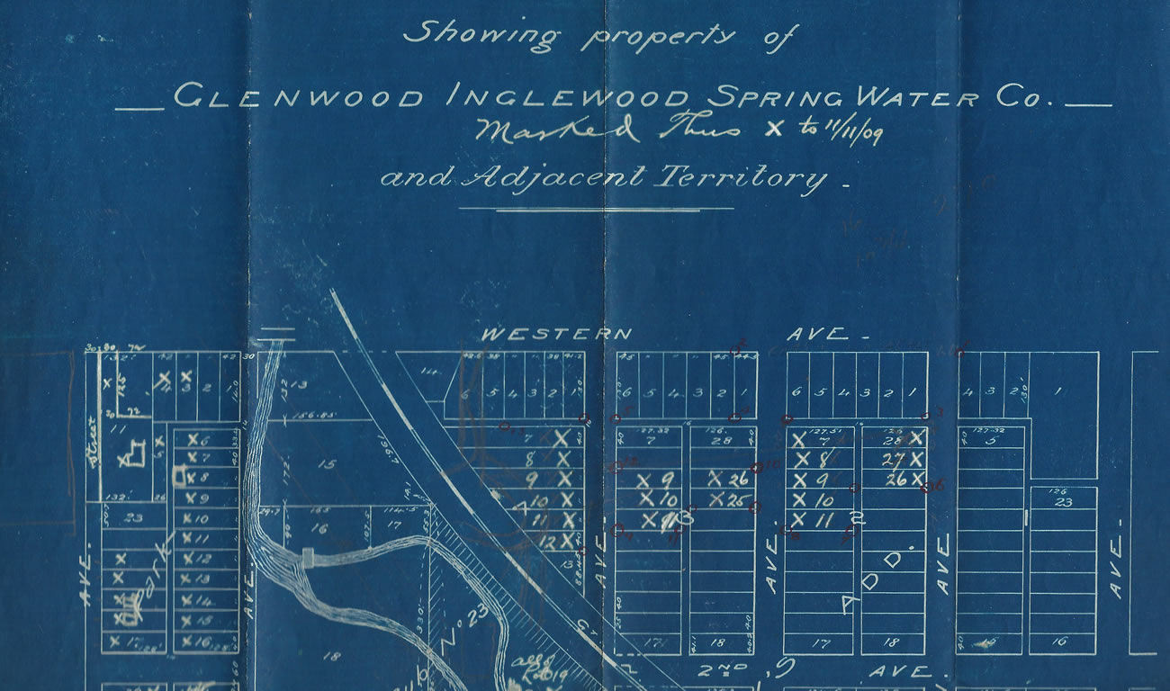 A map of the area surrounding the Glenwood Inglewood Water Co. dated November 11, 1909.