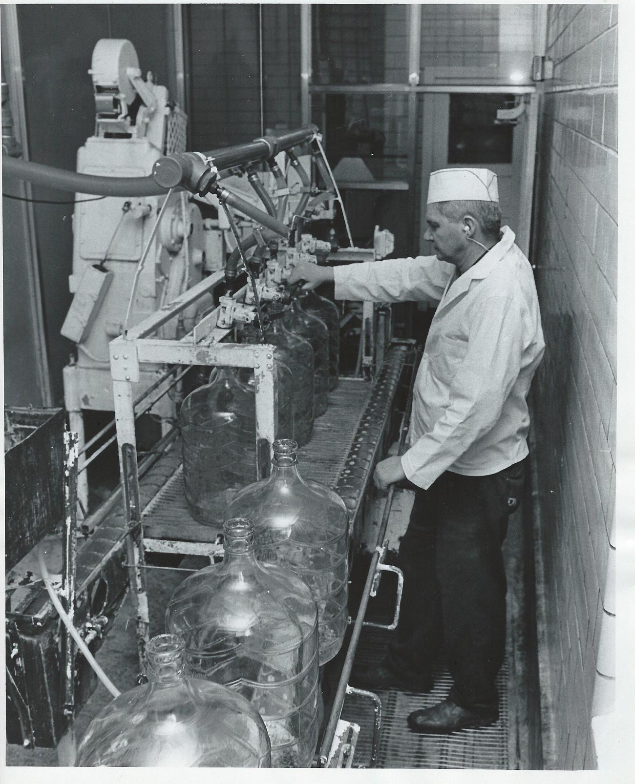 A former Glenwood-Inglewood employee is working hard on the line in the 1960's.